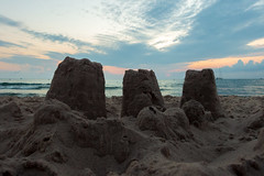 It took a day to build this city (bill.d) Tags: lakemichigan michigan silverbeachcountypark stjoseph us unitedstates beach evening lake lighthouse summer sunset water