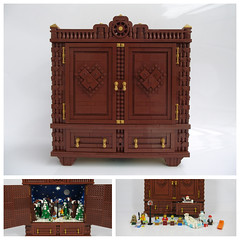 The Wardrobe (Narnia) (bricksom) Tags: narnia lucy tales book cs lewis wardrobe furniture pevensie edmund susan peter mr tumnus white witchs sleigh witch beaver santa winter christmas forrest automaton crank popup novel animated mechanical drawers wooden