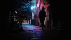 night call (frax[be]) Tags: streetphotography street night dark atmosphere 55mm rokkor fuji xe3 moody city urban outdoor silhouette lowkey neon