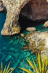 Tropical water in Malta. Landcape, rocks, sea, and plants (T is for traveler) Tags: background shore view paradise holiday sky coastline turquoise bay beautiful island summer tropical tropic water ocean blue grotto bluegrotto sea mediterranean nature landscape plant tree palm coast beach rock rocky formation cliff clear tropicalwater vacation travel tourism malta maltese cave traveler traveling tisfortraveler canon 5d markii