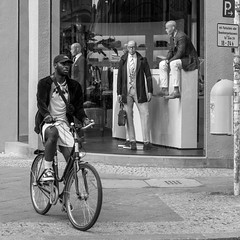 supporting 'die mannschaft' (every pixel counts) Tags: 2018 berlin mitte people street capital germany city bicycle vélo man eu 11 everypixelcounts blackandwhite berlinalive square storefront urban europa blackwhite bw daylight mann shop