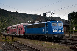 A very short train ... the shining blue Press 110 043-6 waiting to continue its journey in Cochem, Germany