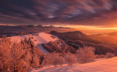 Jamnik hill (Dreamy Pixel) Tags: jamnik winter sunrise clouds trees snow dark epic