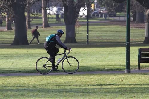 Cyclist riding their bike through the Carlton Gardens