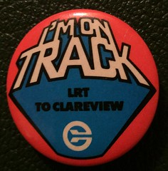 EDMONTON TRANSIT LRT TO CLAREVIEW--- PINBACK BUTTON (woody1778a) Tags: edmonton edmontonhistory alberta canada pinback button history mycollection myhobby