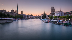 Churches of Zurich (kuhnmi) Tags: zurich zürich schweiz switzerland quaybridge quaibrücke church churches buildings architecture kirchen grossmünster fraumünster peterskirche dämmerung abenddämmerung twilight dusk longexposure langzeitbelichtung cityscape stadtlandschaft landschaft landscape landscapephotography evening financecity swiss limmat riverlimmat skyline sights sightseeing tourism tourismus sehenswürdigkeit landmark