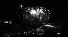 Fireworks and Heaven (annie.cure) Tags: atmosphere details fireworks view porto portugal são joão party monochrome mysterious mood movement blackandwhite blur noise landscape sky night city