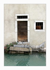 a little forlorn (overthemoon) Tags: france annecy hautesavoie houses pastel pastelcolours river backs oldtown frame doors windows