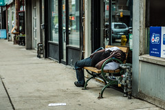 Graffiti Alley - May 31, 2018 (Katherine Ridgley) Tags: toronto downtown city urban streetphotography street building sidewalk homeless person bench