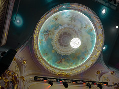 The Pleasure Dome (Steve Taylor (Photography)) Tags: chandalier dome gilding nymphs architecture blue green teal white orange women ladies newzealand nz southisland canterbury christchurch city theater theatre isaactheatreroyal spotlight fairies