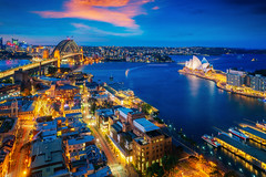 Panorama of Sydney harbour and bridge in Sydney city (anekphoto) Tags: sydney harbour bridge australia city panorama night cbd skyline landmark harbor sunset panoramic water opera cityscape new wales dusk lights architecture building reflection tourist landscape nsw house south modern light holiday blue kirribilli bay urban evening downtown twilight summer sky travel sea tower colour famous view illuminated blurred destinations arch