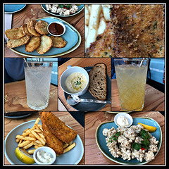 2018 Fish & Co lunch collage (dominotic) Tags: 2018 food drinks meal lunch fishcosustainablefishlunch potatoscallopswithcurrysauce herbcrumbedhakechips passionfruitsoda crispysaltpeppersquid limesoda clamchowder yᑌᗰᗰy tramshedsharoldpark iphone8 foodcollage sydney australia