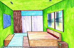 One Point Perspective Bedroom (drawingtutorials101.com) Tags: one point perspective bedroom drawings how draw sketch sketches drawing color colors coloring pencil pencils speed