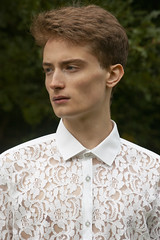 (avadelaflor) Tags: avadelaflor floraetfauna ss14 debut graduatecollection spring summer campaign lookbook british countryside outdoors wilderness trees grass meadow floral lace motifs ferns algae seaweed shirt shorts model menswear fashion lookfour fisherman