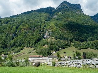 LIN410 Langhofstrasse Road Bridge over the Linth River, Haslen - Leuggenbach, Canton of Glarus, Switzerland
