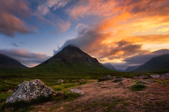 Buachaille on fire (Pete Rowbottom, Wigan, UK) Tags: buachailleetivebeag stobcoireraineach glenetive landscape highlands sunset sky clouds mountains warmth fierysky scotland art nature cloudscape remote munro scottishlandscape peterowbottom lochaber nikon d750 wideangle rocks vast red orange fire dramaticsky scottishmountain scotlandphotography glencoe westhiglands evening dusk goldenlight altnafeadh