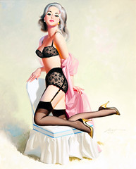 Delightful Platinum Blonde Pin-Up, 1994 by Donald Rust (gameraboy) Tags: donaldrust pinup pinupart illustration art vintage woman sexy delightfulplatinumblondepinup 1994 1990s lingerie stockings thighhighs nylons garterbelt