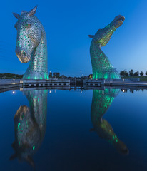 Kelpies (adamcaird) Tags: outdoors scotland colourful canon canonuk 6dmkii canon6dmkii canon16mm35mm lowlight leefiltersuk leefilters reflection green blue longexposure daybreak landscape water architecture