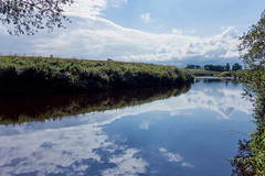River bank (aLittleCoyote) Tags: river calm reflection reflections sky clouds nature