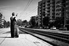 Waiting (iamunclefester) Tags: münchen munich blackandwhite monochrome tram tramway waiting street