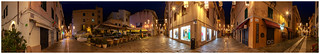 Night in the streets of Algheros Old Town, Sardinia