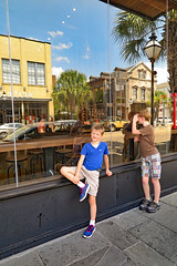 Street Reflection (FAIRFIELDFAMILY) Tags: jason taylor fairfield sc south carolina charleston trip travel explore grant carson michelle fountain waterfront park pineapple splash water architecture historic history design style victorian fire station united states custom house greek revival classical anchor market child boy young old church restaurant swimming swim street view garden gun