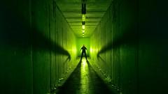 Hey, Crabman ! (palateth) Tags: lightpainting lightart night nophotoshop singleexposure urbex abandonnedplace hallway backlight cyclops crabhand