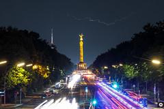 Siegessäule / Victory Column | VFBLN (vollformat.berlin) Tags: victorycolumn berlin berlinmitte berlin2018 flash thunder siegessäule fernsehturm tvtower 100mm longtimeexposure citylights blitz