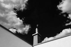 """Cloud Alternative"" (helmet13) Tags: d800e raw bw chimney sky clouds minimalist simplicity roof platformroof aoi peaceaward world100f"