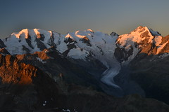 The Bernina group at sunrise (echumachenco) Tags: outdoor landscape berninagruppe alps mountain mountainrange mountainside peak sunrise alpenglow ice snow glacier pizpalü pizbernina pizlanguard engadin oberengadin morteratschgletscher view panorama august summer graubünden grisons grischun switzerland schweiz suisse svizzera suiza svizra nikond3100 bellavista sky rock