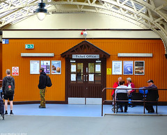 Scotland West Coast the ferry ticket office at Wemyss Bay pier 26 May 2018 by Anne MacKay (Anne MacKay images of interest & wonder) Tags: scotland west coast building ferry ticket office wemyss bay pier passengers people xs1 26 may 2018 picture by anne mackay