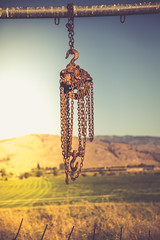 Chain Falls (BP3811) Tags: goodallfarm chain falls equipment old rusty tool hanging hdr field pasture