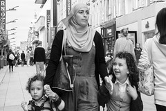 I love shopping, Dublin. (Sean Hartwell Photography) Tags: dublin shopping street family smile muslim lady headscarf candid children