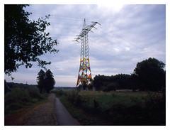Ruhr Bike Path, Bochum (jmvanelk) Tags: ruhrgebiet kohlenpott germany nikonf100 nikkor2820mm ektachrome e100gx expiredfilm filmisnotdead vintage analog ruhrbikepath electricity evening bochum