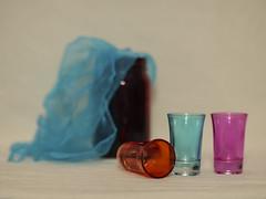 Shot Glasses (N.the.Kudzu) Tags: tabletop stilllife glassware glasses scarf canondslr manualfocus primelens zenitar50mmf12 lightroom flash