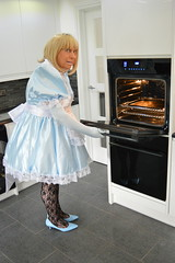 Sissy Barbie in baby blue 28 (sissybarbie1066) Tags: sissy maid sissymaid baby blue satin uniform white peter pan collar puff sleeves kitchen oven cooking babyblue pete peterpancollar petticoat