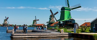 Historic windmills at Zaanse Schans.