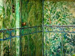 Welcome to my Secret Garden (EXPLORED) (Katrina Wright) Tags: dsc0526 fence hff fencedfriday flowers painting gardenscene doorway door doorknob gate