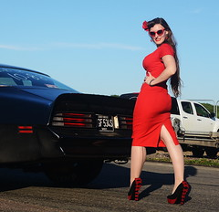 Holly_9195 (Fast an' Bulbous) Tags: classic american muscle car pontiac trans am automobile vehicle pinup model girl woman hot sexy chick babe red wiggle dress high heels stockings people outdoor