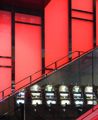 Playing area in an hotel (chrisk8800) Tags: gambling area hotel stairs glass reflection gamblingmachines lines geometric barcelona