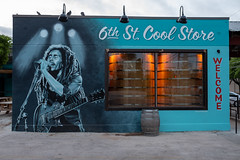 WELCOME (-Dons) Tags: austin lazarusbrewing texas unitedstates muralart streetart tx usa coolstore mural barrel 6thstreet sixthstreet east6thstreet guitar bobmarley welcome