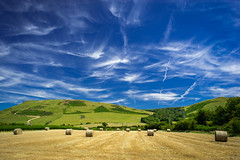 A Sky to Die for (Howie Mudge LRPS BPE1*) Tags: minoltarokkormc35mmf28 landscape nature ngc photography sky bluesky bales hay fields trees bushes hedges clouds outside outdoors greatoutdoors home local tywyn gwynedd wales cymru uk travel sony sonya7ii sonyalpha vintagelens vintageglass nationalgeographic vista scene scenery scenic polariser polarizer sonyilce7m2