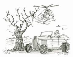 Watch Out (rod1691) Tags: myart art sketchbook bw scfi grey concept custom car retro space hotrod drawing pencil h2 hb original story fantasy funny tale automotive illustration greyscale moonpies sketch sexy voodoo