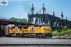 Northbound UP Manifest Train at Kansas City, MO (Mo-Pump) Tags: train railroad railfan railroader railway railroading railroads locomotive