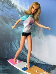 Here it comes, Francie! (Foxy Belle) Tags: doll surf surfing beach francie barbie vintage modern suit board wave ocean water