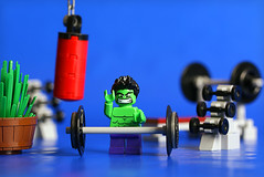Ready for sweet gains... (Frost Bricks) Tags: lego hulk weight lifting gym