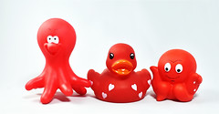 Tubby Toys (Jo Zimny Photos) Tags: theflickrlounge toys red tubbytoys rugger octopus rubberduckie octopi three whitebackground lightbox