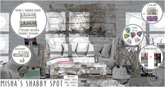 INFINITE - Misha's Shabby Spot @ Shiny Shabby! (Divine Falodir (Infinite)) Tags: crate shiny shabby second life modern contemporary kitsch furniture bench basket rug art table living room awesome