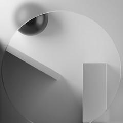 ECOS: Exploring compositions of shapes => Img. 15 (Michalis_Kalamenios) Tags: bw grey calm equilibrium exploring experimental graphic contrast computer white black simple minimal tones balance geometry geometric monochrome ecos 3d render cgi art composition shapes light abstract