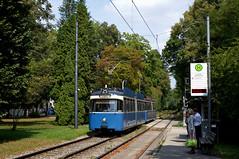Ausnahmsweise mal wieder ein Ausflug nach Grünwald: P-Zug 2005/3005 ersetzt einen defekten Niederflurkurs der Linie 25, hier an der Robert-Koch-Straße (Bild: Andy Paula) (Frederik Buchleitner) Tags: 2005 3005 grünwald linie25 munich münchen pwagen strasenbahn streetcar tram trambahn